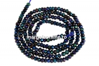 Black spinel rainbow reflections, natural, faceted rondelle, 3mm