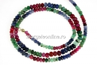 Ruby, sapphire and emerald, natural, rondelle, 3.5-5.5mm