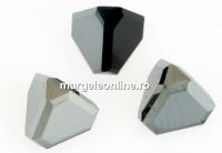 Swarovski, cabochon pyramid, jet hematite, 6mm - x1