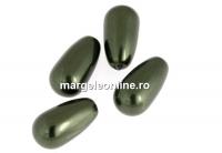Perle Swarovski picatura, dark green, 11.5x6mm - x2