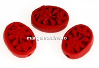 Cinnabar, flat oval, red, 18x13mm - x5