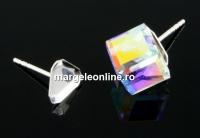Tortite cercei argint 925, cub 4mm - x1per