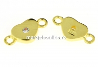 Link inimioara, argint 925 placat cu aur, 10.5x5mm - x1