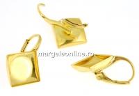 Tortite cercei argint 925 placat cu aur, cabochon 10mm, 21mm- x1per