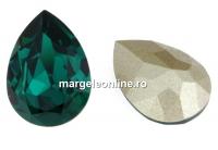 Swarovski, fancy picatura, emerald, 14x10mm - x1