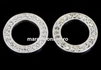 Accesoriu cu cristale, disc, argint 925, 14mm - x1