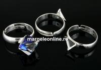 Baza inel argint 925, cub 8mm, interior reglabil  - x1