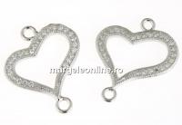 Link inima argint 925 placat cu rodiu, 19x15.5mm - x1