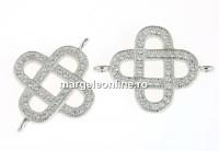 Link nod celtic argint 925 placat cu rodiu, 21x15.5mm - x1