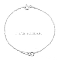 Bratara pt linkuri +zale prindere argint 925 placat cu rodiu, 15cm - x1