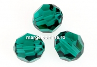 Swarovski, margele, rotund fatetat, emerald, 8mm - x2