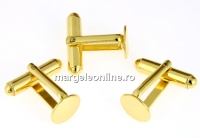 Baze butoni argint 925 placat cu aur, platou rotund de 9mm - x1 pereche