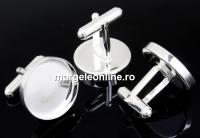 Baza butoni argint 925, cabochon 18mm - x1per