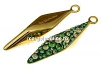 Swarovski, pand. pave placat cu aur, luminous green, 30mm - x1