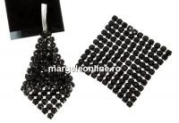Crystal mesh, jet, 3.2x3.2cm - x1