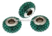 Swarovski, becharmed pave emerald dark green, 13.5mm - x1