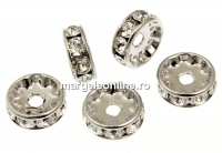 Swarovski, spacer, placat rodiu, crystal, 7mm - x2