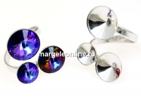 Baza inel, argint 925 rodiat, 3 rivoli, 8-10-12mm - x1