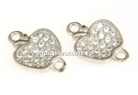 Link fructul interzis cu cristale argint 925 rodiat, 13.5mm - x1