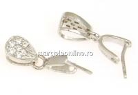 Agatatoare pandantiv, picatura, argint 925 placat cu rodiu, 14mm - x1