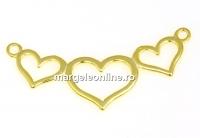 Link 3 inimi argint 925 placat cu aur, 37mm - x1