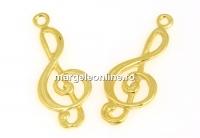 Pandantiv cheia sol, argint 925 placat cu aur, 24.5mm - x1