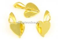 Baza pandantiv argint 925 pl. cu aur, cabochon inima 10mm - x1