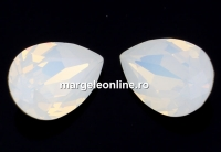 Swarovski, fancy picatura, white opal, 8x6mm - x2