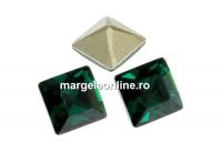 Swarovski, fancy chaton Square, emerald, 6mm - x6