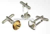 Baze butoni argint 925 rodiat pentru Swarovski 4470 de 10mm - x1 per.