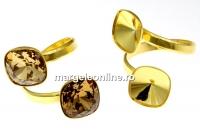 Baza inel patrat, argint 925 aurit, pt 2 Swarovski 4470 si 4461 de 12mm - x1
