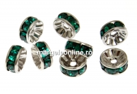 Swarovski, spacer, placat rodiu, emerald, 6mm - x2