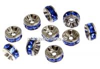 Swarovski, spacer, placat rodiu, sapphire, 6mm - x2