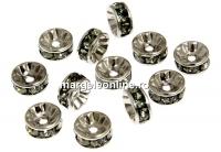 Swarovski, spacer, placat rodiu, black diamond, 6mm - x2