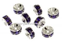 Swarovski, spacer, placat rodiu, purple velvet, 6mm - x2