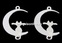 Link semiluna cu motan argint 925, 22mm  - x1