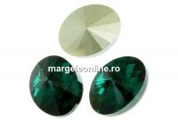 Swarovski, fancy oval, emerald, 14x10.5mm - x2