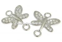 Link libelula cu cristale, argint 925 placat cu rodiu, 12.5mm - x1