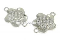 Link floare cu cristale, argint 925 placat cu rodiu, 12mm - x1