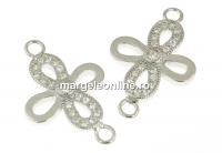 Link cruce cu cristale, argint 925 placat cu rodiu, 18mm - x1