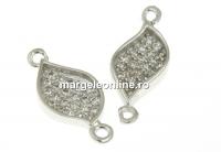 Link petala cu cristale, argint 925 placat cu rodiu, 15mm - x1