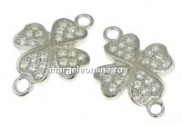 Link trifoi cu cristale, argint 925 placat cu rodiu, 15mm - x1