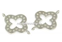 Link cruce cu cristale, argint 925 placat cu rodiu, 14mm - x1
