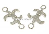 Link floare de crin, argint 925 placat cu rodiu, 17.5mm - x1