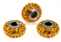 Swarovski, becharmed pave topaz, 15mm - x1