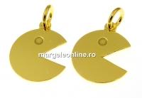 Pandantiv pac-man argint 925 placat cu aur, 18mm  - x1