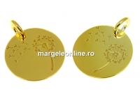 Pandantiv banut cu papadie argint 925 placat aur, 14mm  - x1