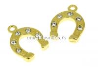 Pandantiv potcoava cu cristale argint 925 placat aur, 14x10mm  - x1
