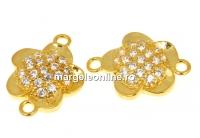 Link floare cu cristale, argint 925 placat aur, 12mm - x1