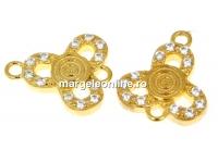 Link trifoi cu cristale, argint 925 placat aur, 10.5mm - x1